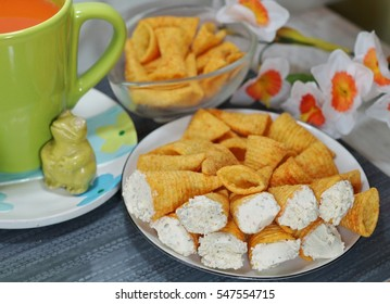 cones stuffed with cottage cheese with spices - appetizer