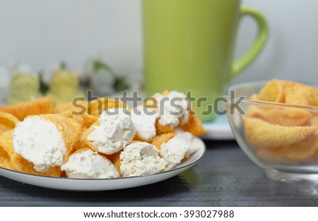 Fantastic Cones Stuffed Cottage Cheese Spices Appetizer Stock Photo Home Interior And Landscaping Analalmasignezvosmurscom