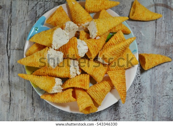 Admirable Cones Stuffed Cottage Cheese Spices Appetizer Stock Photo Home Interior And Landscaping Analalmasignezvosmurscom
