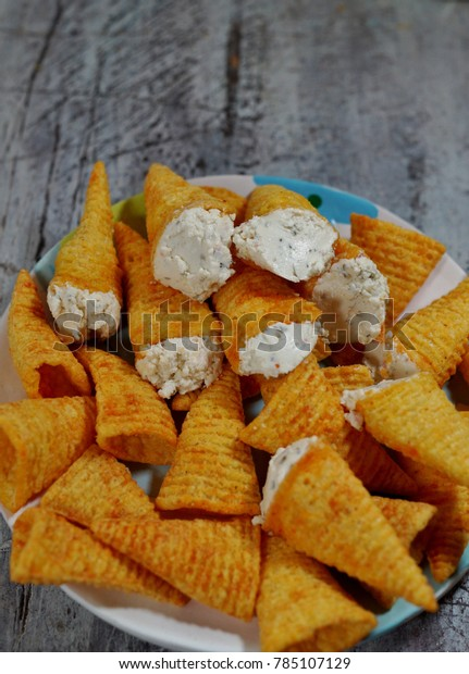 Pleasant Cones Stuffed Cottage Cheese Spices Appetizer Stock Photo Home Interior And Landscaping Analalmasignezvosmurscom