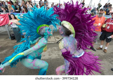 CONEY ISLAND, BROOKLYN, NY/USA - JUNE 20, 2015: Participants march in the annual Mermaid Parade.