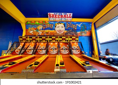 CONEY ISLAND, NEW YORK - APRIL 2: Empty skeeball games at the boardwalk April 2, 2010 in Coney Island, New York, USA. The first ever skee ball tournament was held nearby in Atlantic City, New Jersey.