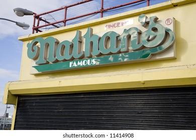 Coney Island, New York:  World famous Nathan's Hotdogs.  A Brooklyn landmark.  Empty during the winter.