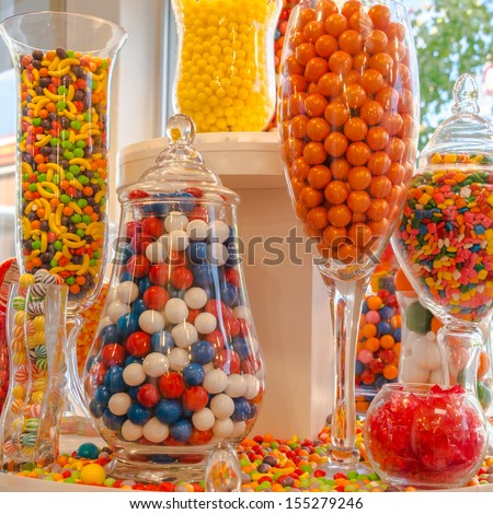 Confectionery Sweet Shop Candies Displayed Glass Stock Photo Edit