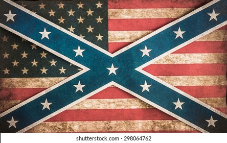 confederate and American flag concept grunge fade background