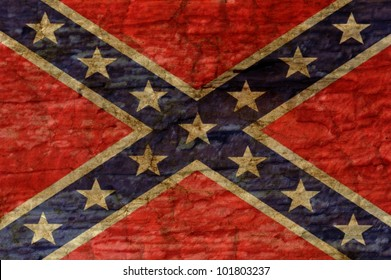 Confederate flag overlaid with grunge texture