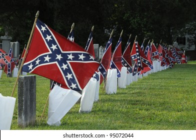 Confederate Graves Marked with Flags Flying