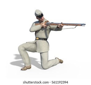 A confederate soldier of the US Civil War aims his rifle - 3d render.