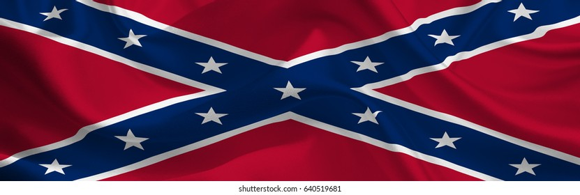 Confederate States of America waving flag wide format
