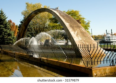 Confederation Arch Fountain. Arch represents the aim of fathers of Confederation to unify the provinces from Atlantic to Pacific coasts, Kingston Park, Ontario
