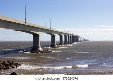 The Confederation Bridge between Borden-Carleton in Prince Edward Island and Cape Jourimain in Brunswick, Canada