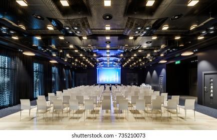 Conference hall. Collection. Meeting room. Presentation room. Modern big hall. Illustration.