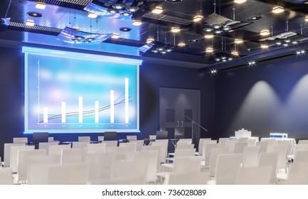 Conference hall. Collection. Meeting room. Presentation room. Modern big hall. 3d Illustration.