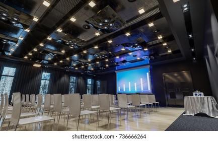 Conference hall. Meeting room. Presentation room. Modern big hall. 3d Illustration.
