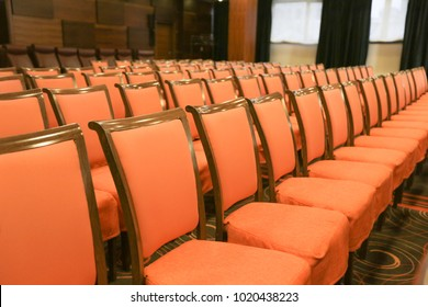 Conference hall or seminar room, row of empty seat in auditorium or hall or classroom.