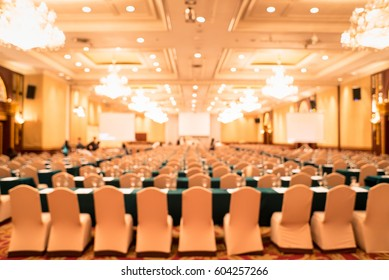 Conference hall or seminar room,Blur row of empty seat in auditorium or hall or classroom.