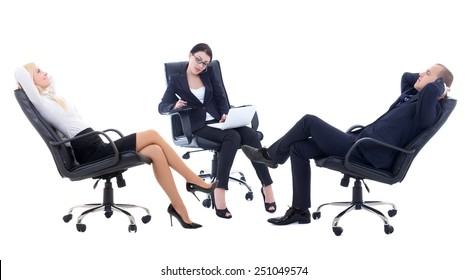 conference or meeting in office -three business persons sitting on office chairs isolated on white background