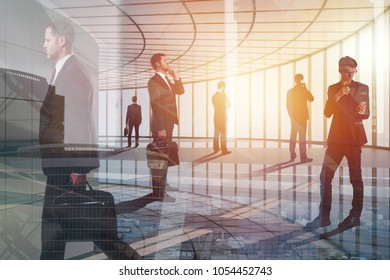 Conference and professional concept. Group of young businesspeople on abstract office city background. Double exposure