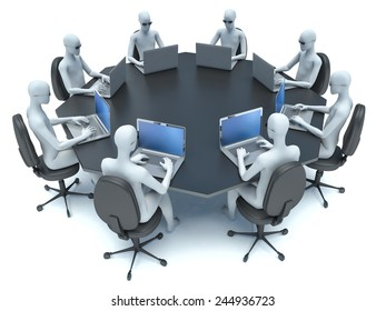 conference room with black table and 3d man