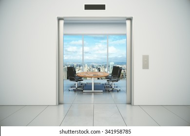 Conference room with city view is appeared from the elevator doors 3D Render