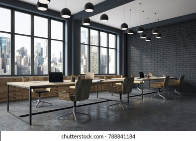 Conference room corner with black brick walls, a concrete floor, large windows and a long wooden table with wooden chairs near it. Side view. 3d rendering mock up