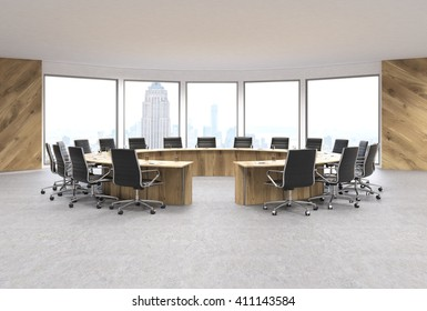 Conference Room Interior Design With Circular Wooden Table, Swivel Chairs  And New York City View