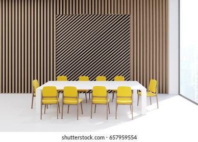 Conference room interior with a rectangular table, yellow office chairs near it, a wooden wall and a tall window. Square wall fragment. 3d rendering, mock up