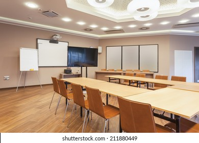Conference room with modern ceiling lights