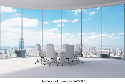 Conference room. Modern office with windows and city view.
