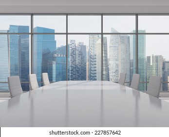Conference room. Modern office with windows and city view. Singapore cityscape.