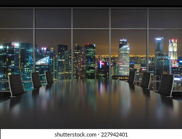 Conference room. Modern office with windows and city view. Night time.