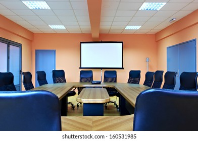 Conference room with projector screen