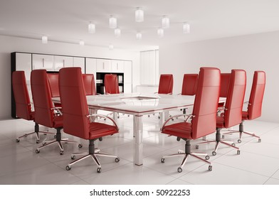 conference room with red armchairs interior 3d