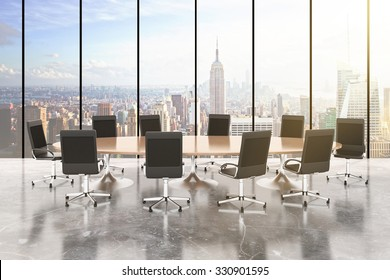 Conference room with round table, chairs, concrete floor, windows in floor and city view 3D Render