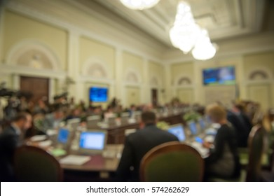 Conference room or seminar meeting room in business event. Session of Government. Academic classroom training course in lecture hall. blur abstract background. working in modern bright office indoor