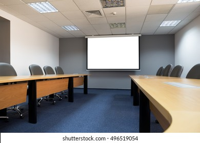 conference room with white mock up screen
