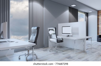 Conference room with wooden table. 3D rendering.