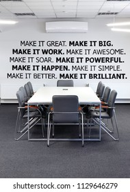Conference room.With Conference , meeting table and office armchair. With motivation words on the wall