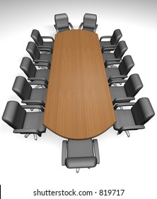 Conference table and armchair on white background - 3d render