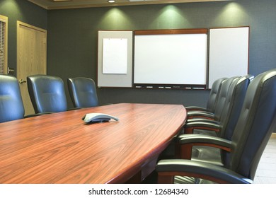 Conference table and blank presentation board