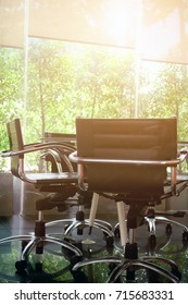Conference Table boardroom with chair in morning, Business meeting room