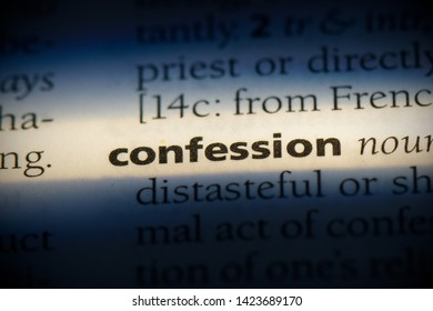 confession word in a dictionary. confession concept.
