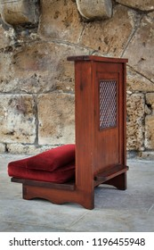 A confessional chair outside a church in Lebanon.