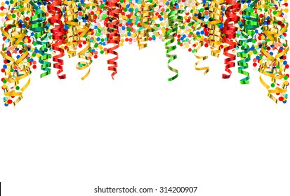 Confetti and colorful shiny streamer isolated on white background. Carnival party decoration