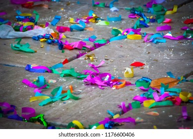 Confetti on the floor at celebration parties