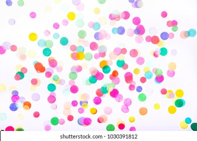 Confetti on white background. Birthday party background