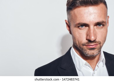 Confidence. Cropped photo of bearded charming businessman in classic suit looking at camera while standing against grey background