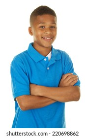 Confident African American Boy with his arms folded on a white background