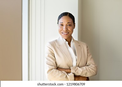 Confident African American business woman at work.