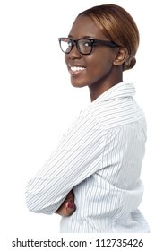 Confident african corporate lady posing with crossed arms